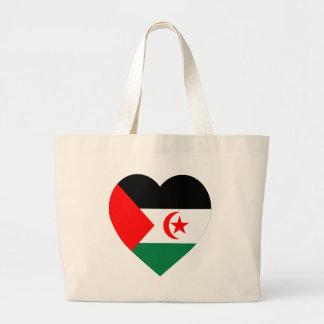 Western Sahara Flag Heart Canvas Bags