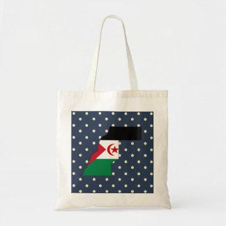 western sahara Flag Map on Polka Dots Budget Tote Bag