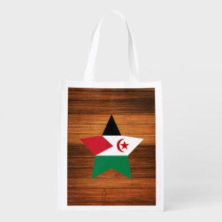 Western Sahara Flag Star on Wood