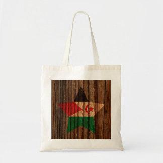 Western+Sahara Flag Star on Wood theme Budget Tote Bag
