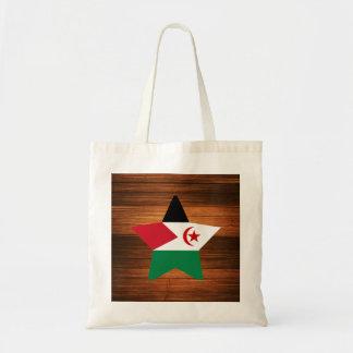 Western Sahara Flag Star on Wood Budget Tote Bag