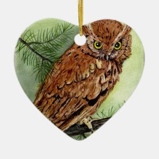 Western Screech Owl Ceramic Heart Decoration