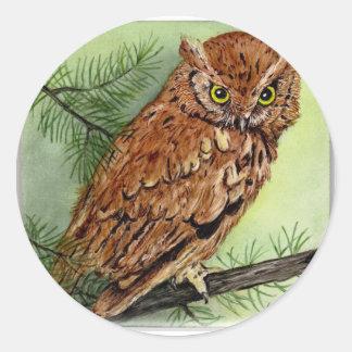 Western Screech Owl Round Sticker