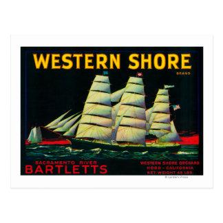 Western Shore Pear Crate LabelHood, CA Postcard