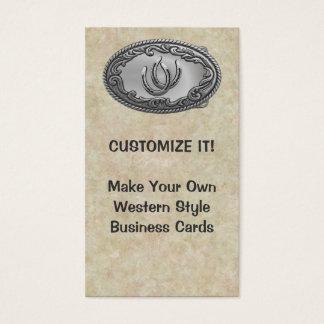Western Silver Buckle Business Card