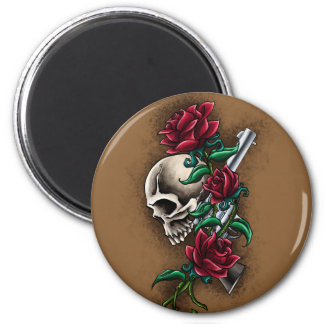 Western Skull with Red Roses and Revolver Pistol 6 Cm Round Magnet