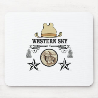 western sky cowboy art mouse pad