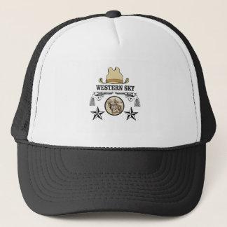 western sky cowboy art trucker hat