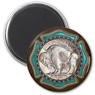Western Style Buffalo Nickle 6 Cm Round Magnet
