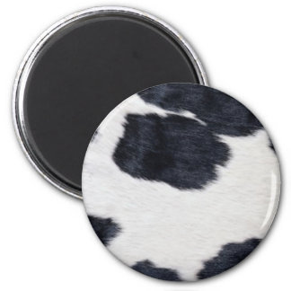 Western Style Cowhide Black/White Print 6 Cm Round Magnet