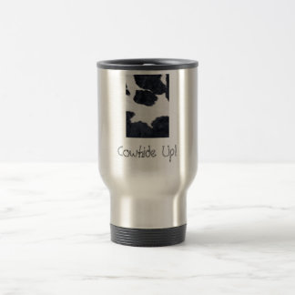 Western Style Cowhide Black/White Print Travel Mug