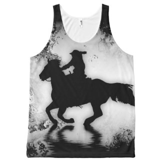 Western-style Galloping Horse and Rider All-Over Print Singlet