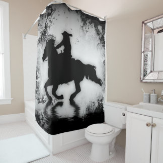 Western-style Galloping Horse and Rider Shower Curtain
