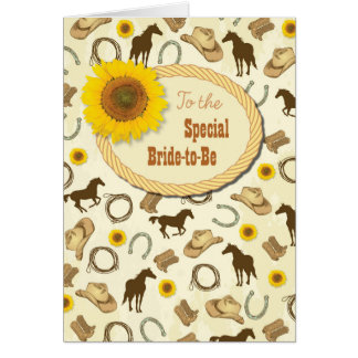 Western & Sunflower Bridal Shower Best Wishes Card