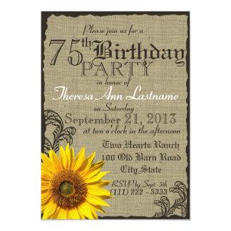 Western Sunflower Rustic 75th Birthday Card
