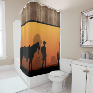 Western Sunset with Cowboy - Shower Curtain