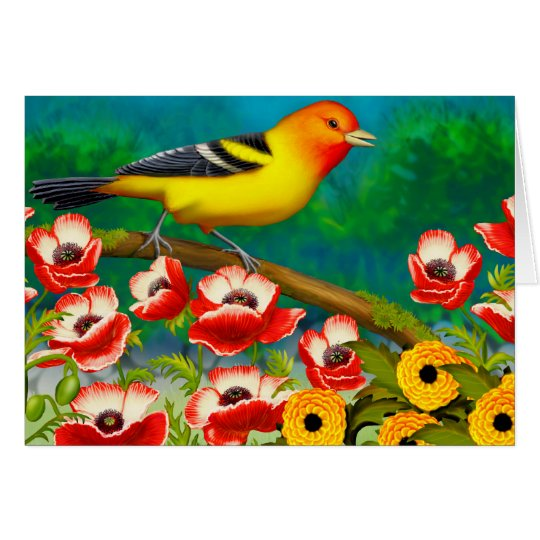 Western Tanager Bird in Flowers Card