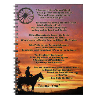 Western Teacher Appreciation Poem Notebooks