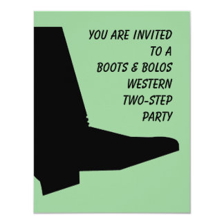 "WESTERN TEXAS TWO-STEP THEMED PARTY INVITATION 4.25"" X 5.5"" INVITATION CARD"