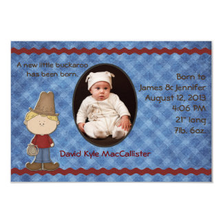 Western Theme Baby Boy Birth Announcement