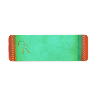 Western theme design with turquoise and coral return address label