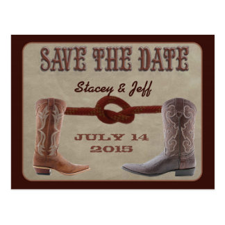 "Western theme ""save the date"" postcard"