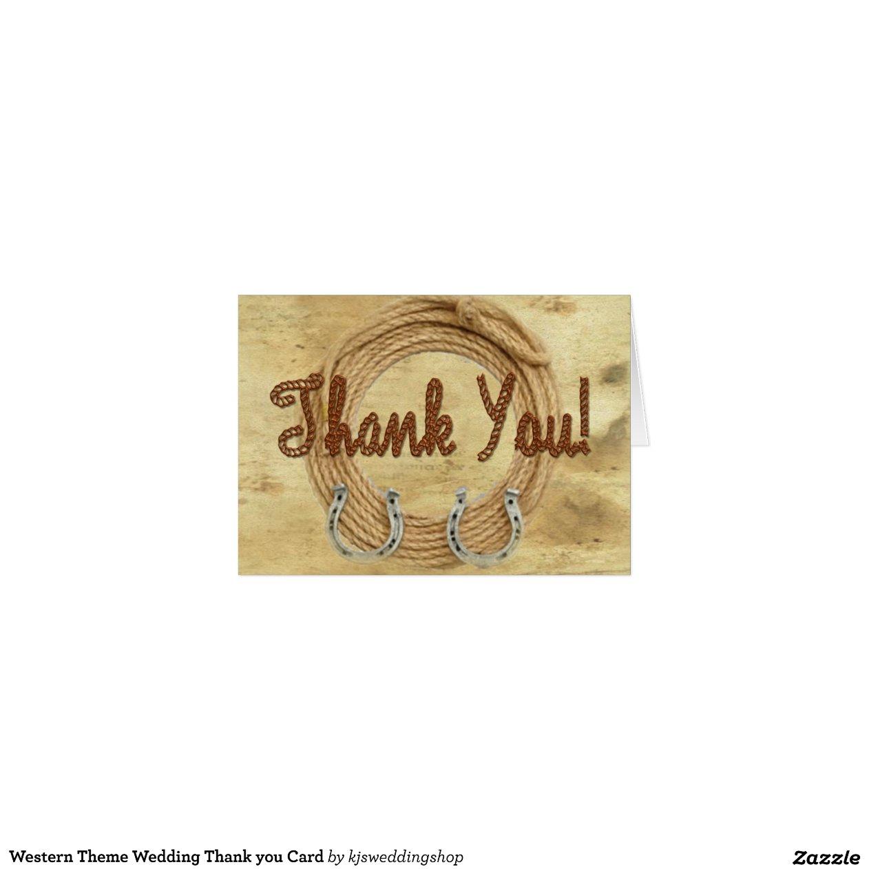 No Thank You For Wedding Gift: Western Theme Wedding Thank You Card