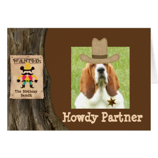 Western themed Birthday card with basset sheriff
