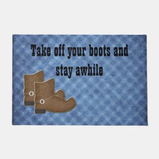 Western Themed Cowboy Boots Door Mat