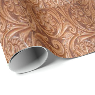 Western Tooled Leather Flower Gift Wrapping Paper