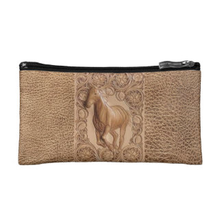 Western tooled leather Vintage horse Cosmetic Bag