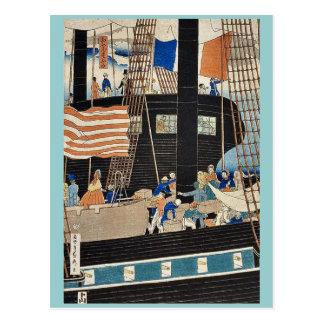 Western traders loading cargo by Utagawa,Sadahide Postcard