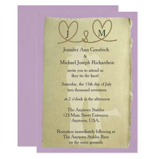 Western Tying The Knot Customisable Colour Wedding Card