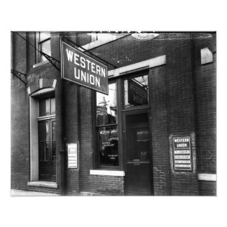 Western Union Old 1930 Black and White Photo Art