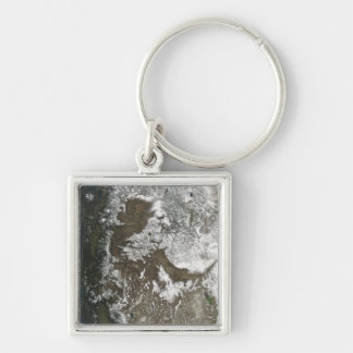 Western United States Silver-Colored Square Key Ring
