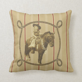 Western  Vintage Cowgirl On Horse Cushion