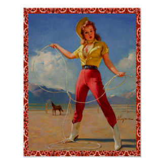 Western Vintage Cowgirl Pin Up Girl Witth Rope Poster