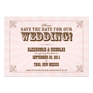 Western Vintage Save the Date Announcement pink