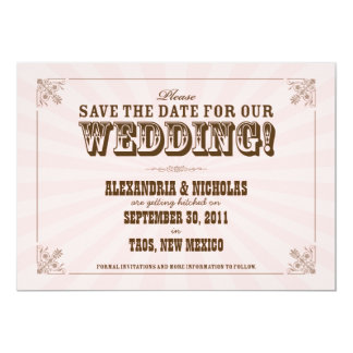 Western Vintage Save the Date Announcement (pink)