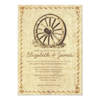 Western Wagon Wheel Wedding Invitations