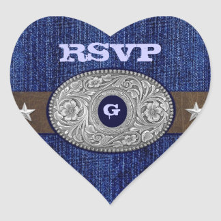 Western Wedding Denim Heart RSVP Envelope Seals Heart Sticker