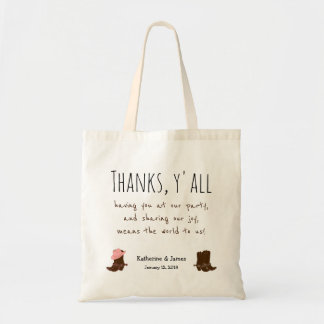 "Western Wedding ""Thanks Bags"" w/ boots, customize Tote Bag"