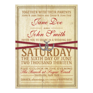 Western, Wood and Red Ribbon Wedding Invitation