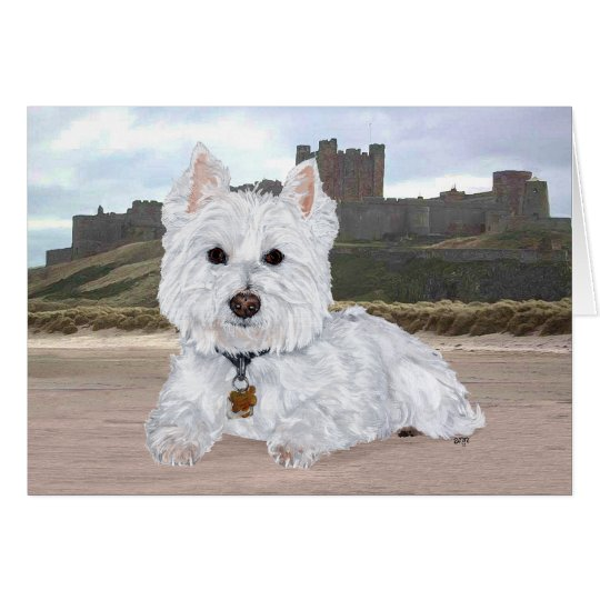 Westie at Bamburgh Castle Card