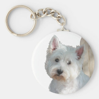 WESTIE AT THE GATE BASIC ROUND BUTTON KEY RING