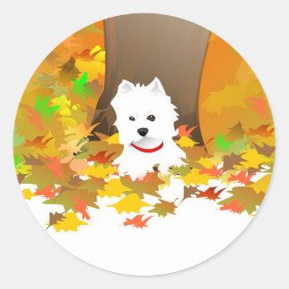 Westie - Autumn Leaves - Sticker