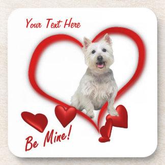Westie Be Mine Valentine's Day Cork Coaster