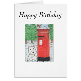 Westie Birthday Card Westie posting Card