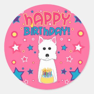 Westie Birthday Classic Round Sticker