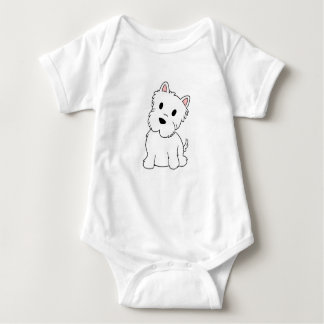 westie cartoon baby bodysuit